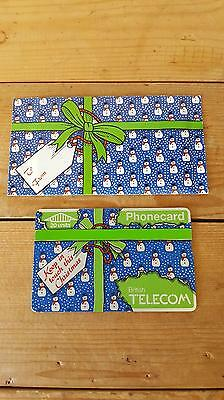 Unused 1980's British Telecom BT Christmas Phone Card w/ Sleeve