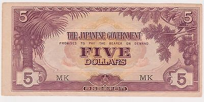 (N3-178) 1942 Japan invasion $5 bank note (W)
