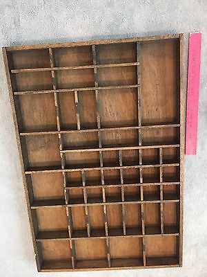 Antique Wooden Printers Letter Typeset Tray Box