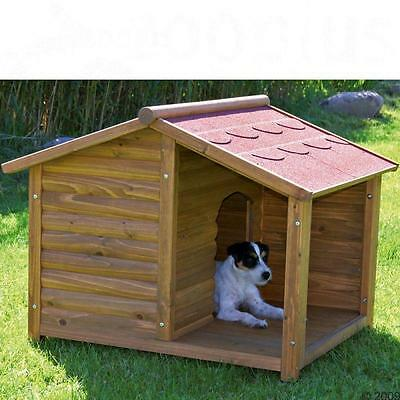 Weatherproof PITCHED ROOF Log Cabin Porch Dog Kennel Pet SHELTER Wood Home House