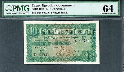 EGYPT 1917 10 PIASTRES P-160b CHOICE UNC PMG 64 - REAL ISSUED NOT SPECIMEN