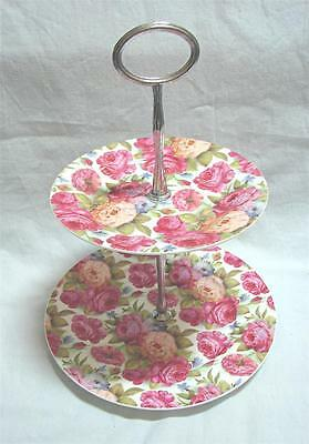 Modern Roses Chintz All over Floral 2 tier cup cake holder High Tea