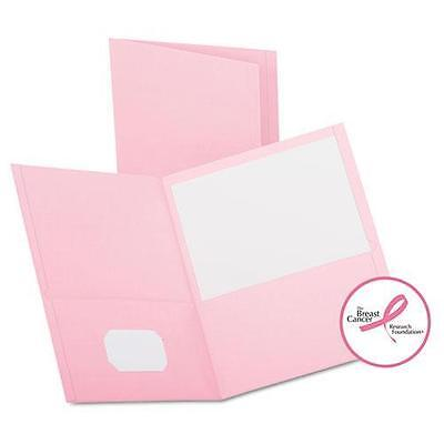 Oxford Twin-Pocket Folder Embossed Leather Grain Paper Pink 25//Box 57568