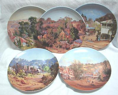 5 LED Australian BENDIGO Pottery Collector's plates by C Huber Hills End Carcoar