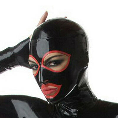Latex Mask Rubber Hood with Back Zipper for Catsuit Party Wear Costumes 0.4mm