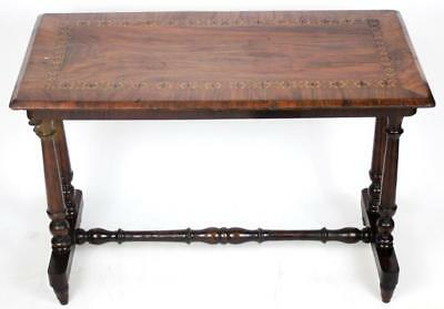 Antique Victorian Rosewood Marquetry Inlaid Stretcher Table [PL1090]