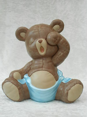 Brand New Ceramic Cute Baby Brown Teddy Bear Blue Nappy Animal Figurine Ornament