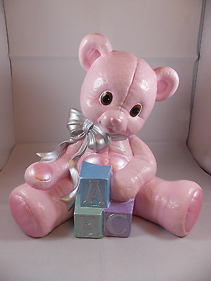 Brand New Ceramic Baby Pink ABC Teddy Bear Figurine Christening Nursery Ornament