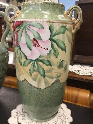 Antique Hand Painted Flowers Vase