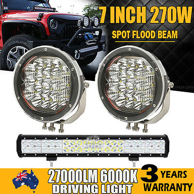 "7""INCH 270W + 20"" 294W Spot&Flood Combo LED Driving Light Bar Offroad SUV 9""/6"""