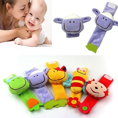 1pc Multi shape Soft Toy Animal Baby Infant Kids Hand Wrist Bells Rattles