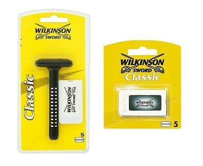 Wilkinson Sword Classic Double Edge Razor And An Extra 5 Blade Pack Mens Shaving