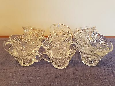 12 Vintage Anchor Hocking Prescut Snack Cup Glassware Clear Glass Punch