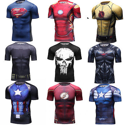 Mens Marvel Superhero T Shirt Compression Athletic Workout Tops Cosplay Costumes