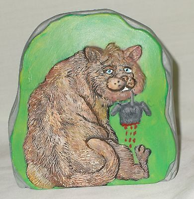 Cat Mouse Twisted Humor Rock Hand Painted Ceramic Home Decor Man Cave Tabby