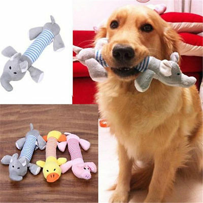 Pet Puppy Chew Squeaker Squeaky Plush Sound Pig Elephant Duck Ball Dog Toy BF