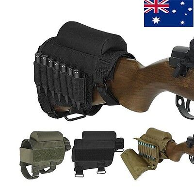 AU Tactical Hunting Rifle Buttstock Cheek Rest Holder Pouch For .308 .300 Winmag