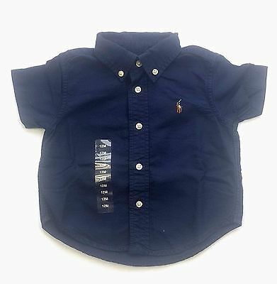 Polo Ralph Lauren Baby Boys Oxford Shirt Short Sleeve 9m 12m Blue RRP £49