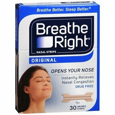 Breathe Right Nasal Strips, Small/Medium, Tan, 30-Count Boxes (Pack Of 6)