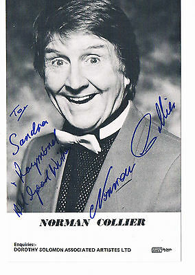 Norman Collier Hand Signed Photo 6 x 4 and Personalised Greetings Card