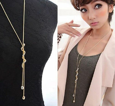 Gift Women Jewelry Crystal  Snake  Pendant  Gold Plated Long  Chain Necklace