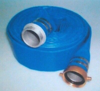 "3"" x 50' Blue PVC Lay Flat Water Discharge Hose with M&F NPSH couplings"