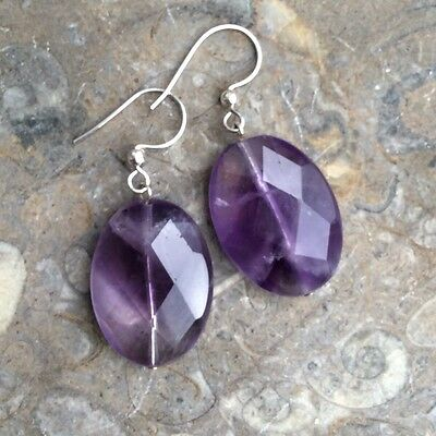Amethyst natural gemstone earrings. Sue Bowden design Irish jewelry sterling