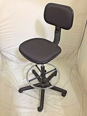 Basic stool Drafting Chair Stools Adjustable Height Black Fabric with footring