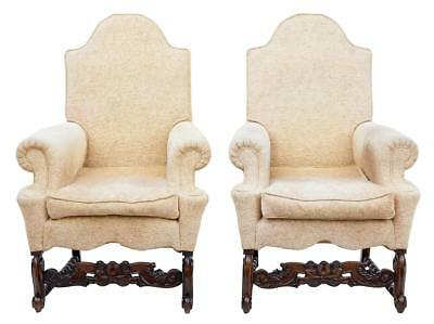 PAIR OF 1920's CARVED OAK ARMCHAIRS