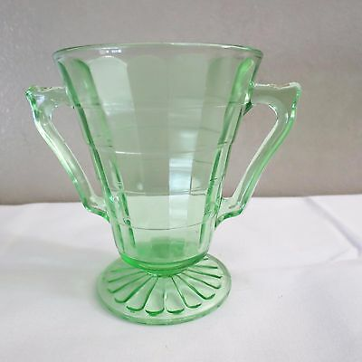 "'Block Optic""by Hocking Glass Green Uranium Depression Glass Footed Sugar Bowl"