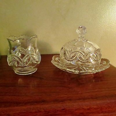 Pressed Glass Clear Domed Butter Dish and Spooner