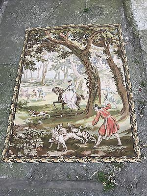Very Old Wall Hanging Tapestry Classic British Scene Estate Sale Find Antique