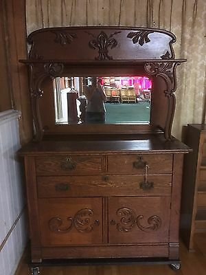 Antique Exquisite  Oak Buffet / Sideboard With Mirror And Shelf