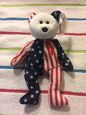 "Ty Beanie Baby ""1999 Spangle White Face"" Rare with Tag Errors"