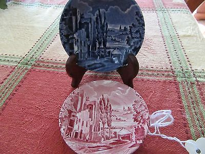 *TWO* W H Grindley Staffordshire England Scenes after Constable Butter Pat Salt