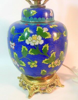 Vtg Chinese Cloisonne GINGER JAR as Lamp Flowers Blue