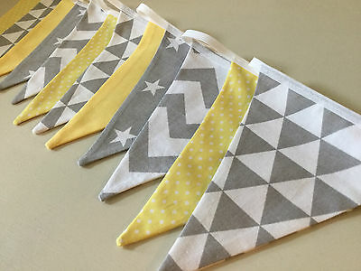 GREY YELLOW STAR CHEVRON HANDMADE FABRIC BUNTING baby boy modern vintage nursery