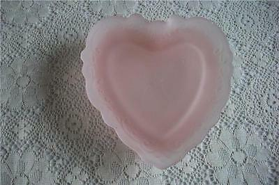 Vintage Frosted Pink Heart Shaped Trinket Jewelry Dish - Etched Design Edges