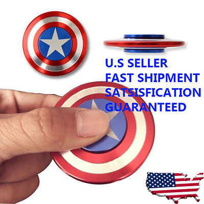 Captain America Fidget Hand Spinner Shield Toy EDC Focus ADHD Autism Kids Adult