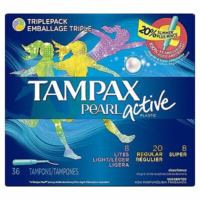 Tampax Pearl Active Triplepack Light/Regular/Super, Unscented, 36 Tampons