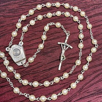 LOURDES ROSARY with symbolic water pearl made in Poland of Italian parts 18""