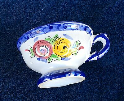 Vintage White Flowered Cup with Blue Trim Hand Painted Portugal