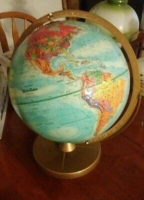 "Vintage 12"" Standard Globe by Replogle Globes Chicago Ill W Isreal + USSR"