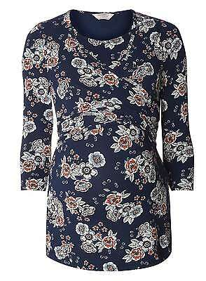 Dp's Navy Floral Wrap Maternity & Nursing Feeding Top Size 12 14 16 18 20 22 New