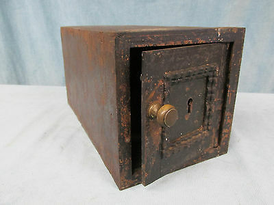 Antique Cast Iron Metal Lock Box Wall Safe  Wood Lining No Lock No Key