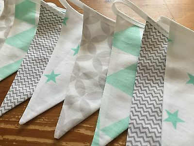 GREY CHEVRON MINT GREEN STAR NURSERY HANDMADE FABRIC BUNTING baby geometric boy