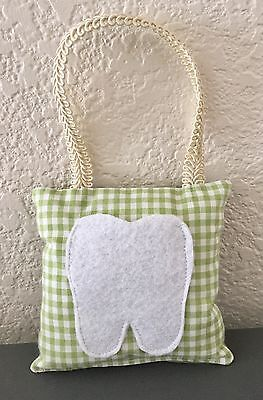 "** Gingham"" - Tooth Fairy Pillow - NEW - Green Checkers"
