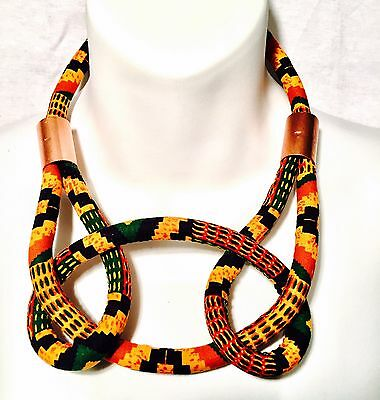 African Kente Print Statement Necklace