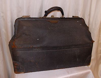 Old doctor's bag case big satchel shabby black leather, latches work
