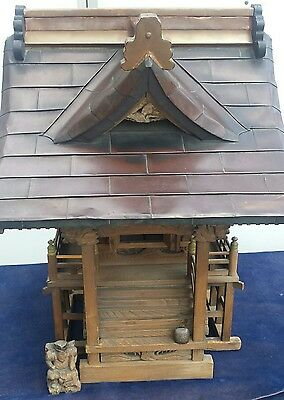 Japanese Edo period Shinto shrine with copper roof -cypress wood-bell & statue